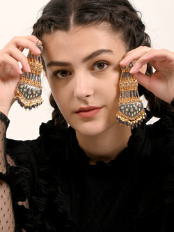 Grey and Gold Twin Chandbali Earrings