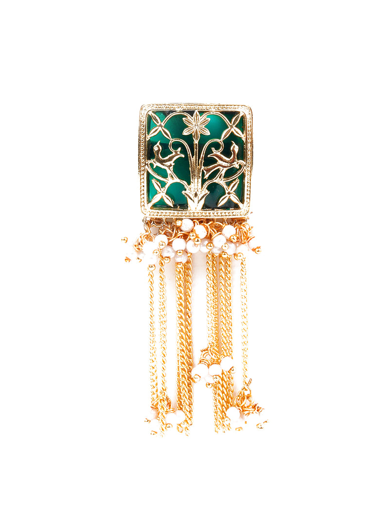 Traditional Golden and Green Rhinestone Earring