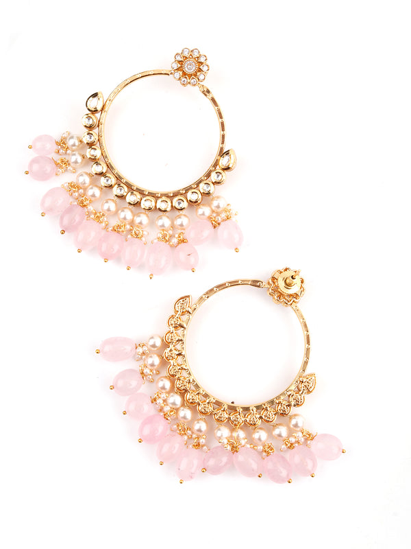 Pink Beaded Kundan Earrings