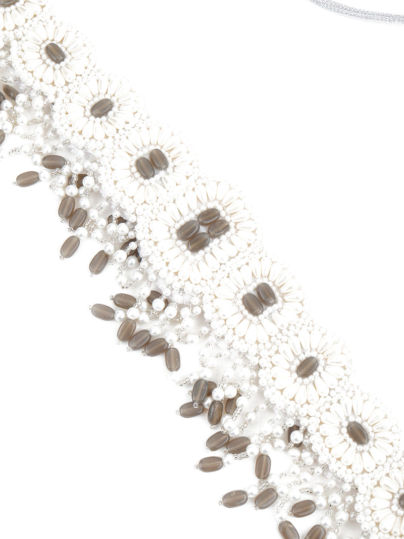 White Pearl Beads Velvet Base Belt