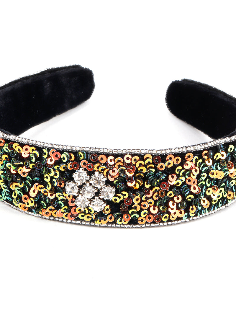 Multi Green Tickle Velvet Hairband