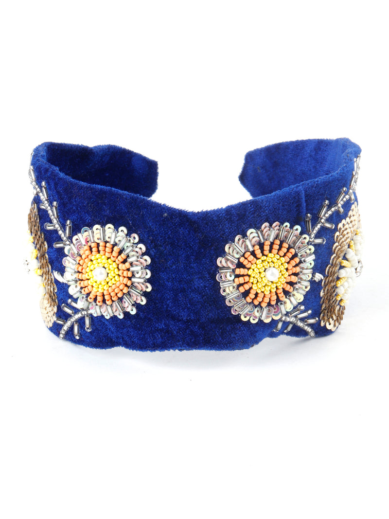 Royal Blue Velvet Hairband With Tickles And Rhinestones