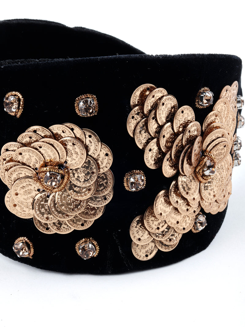 Black And Golden Flower Velvet Hairband