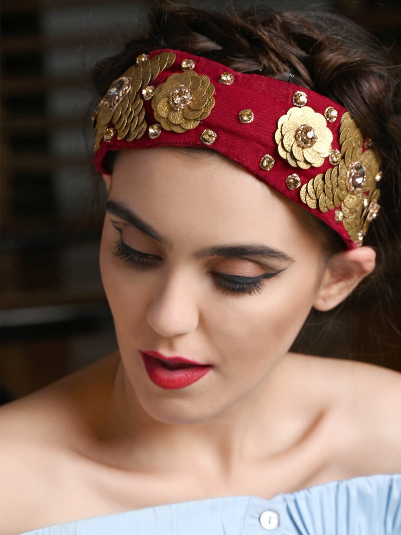 Maroon And Golden Flower Velvet Hairband