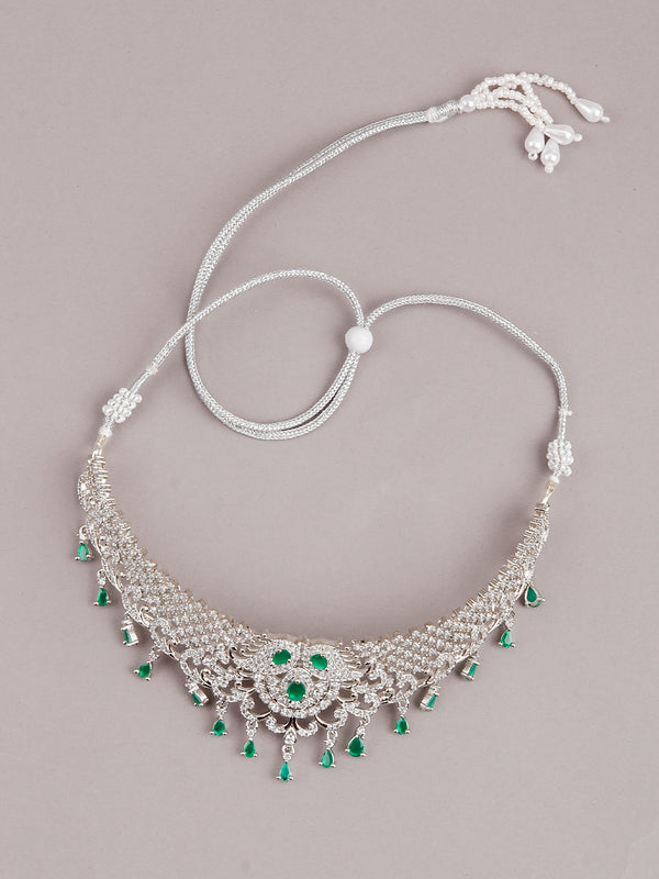 Alina White And Green Mesh Necklace Set
