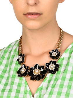 Gold Tone Black Tinted Floral Necklace