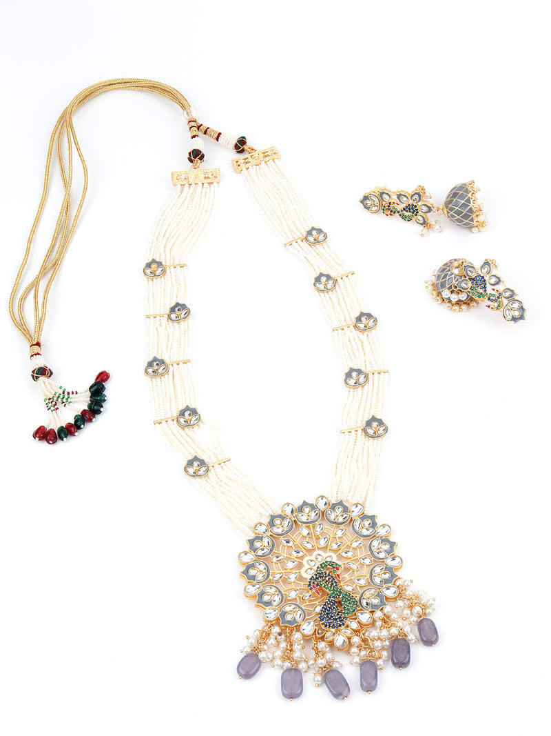 Youthful Traditional Pearl with Grey Tinted Kundan-Mani-Pearl Necklace Set
