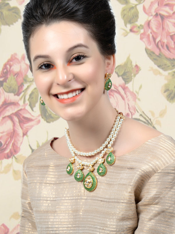 Wistful Double String Green- Enamelled Necklace Set