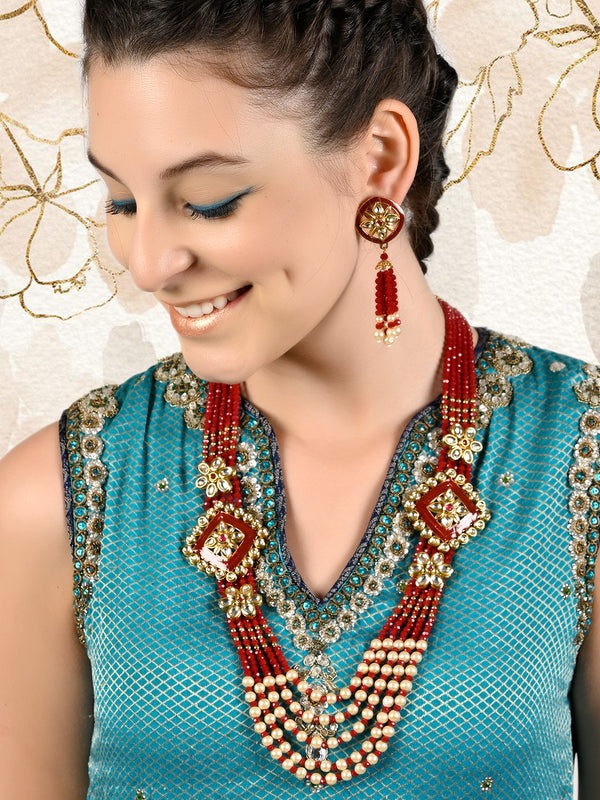 Layered Pearl-kundan-Onyx Red Necklace Set