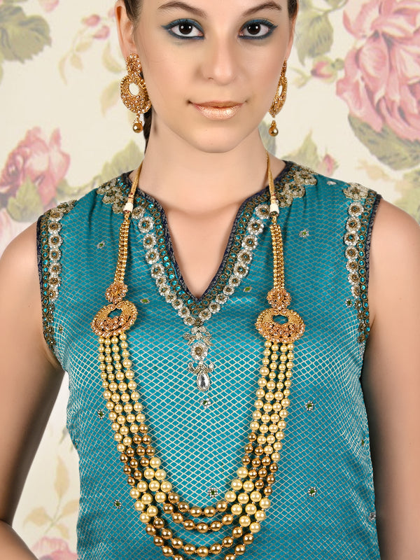 Ornate Pearl Dazzling Necklace Set