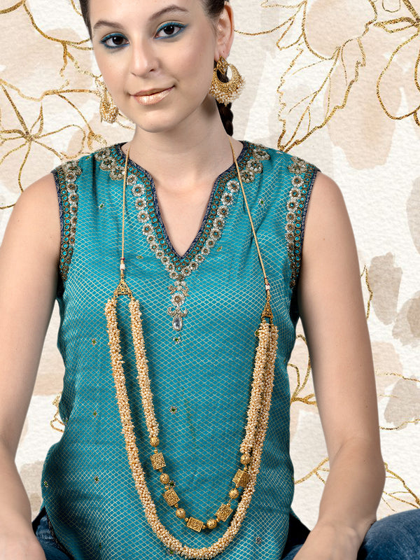 Cluttered Gold Tone Pearl Rich Look Necklace Set