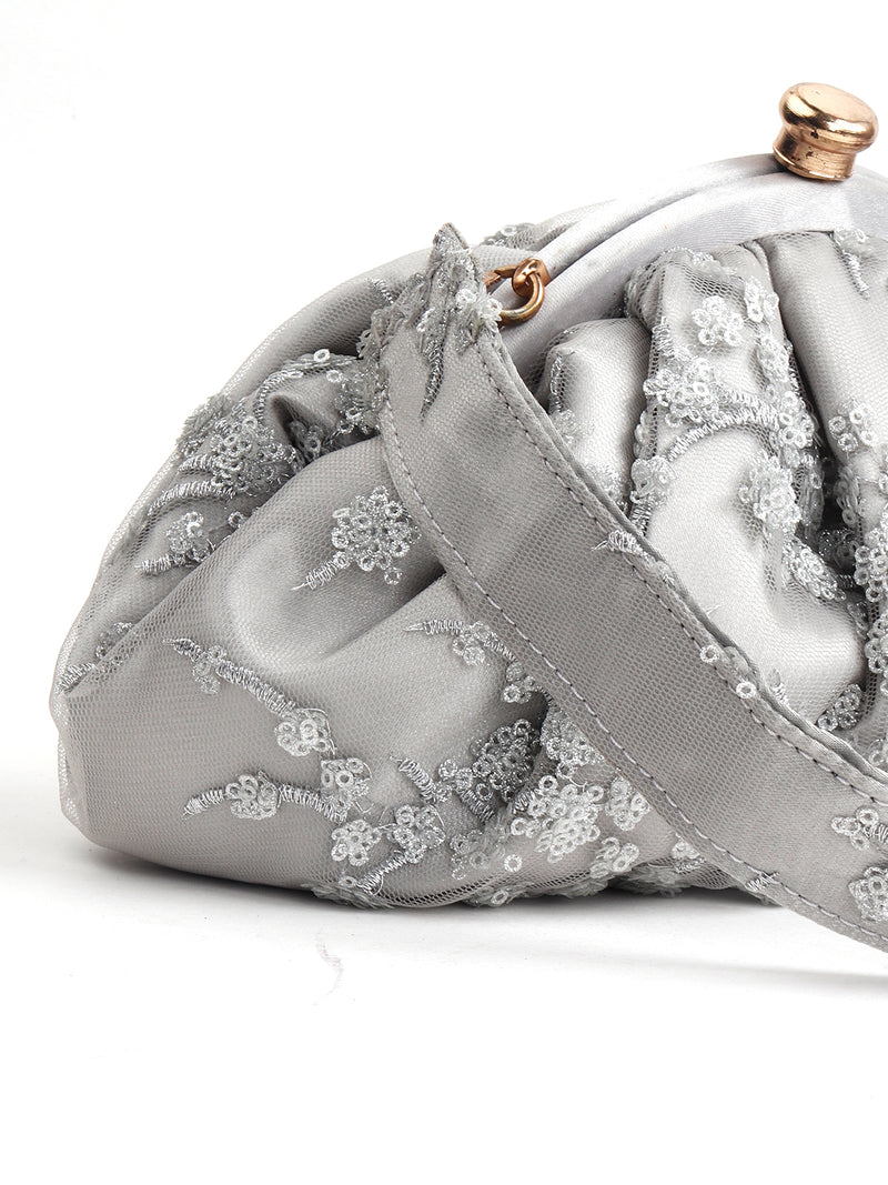 Grey Glittery party Batuwa Hand Bag!