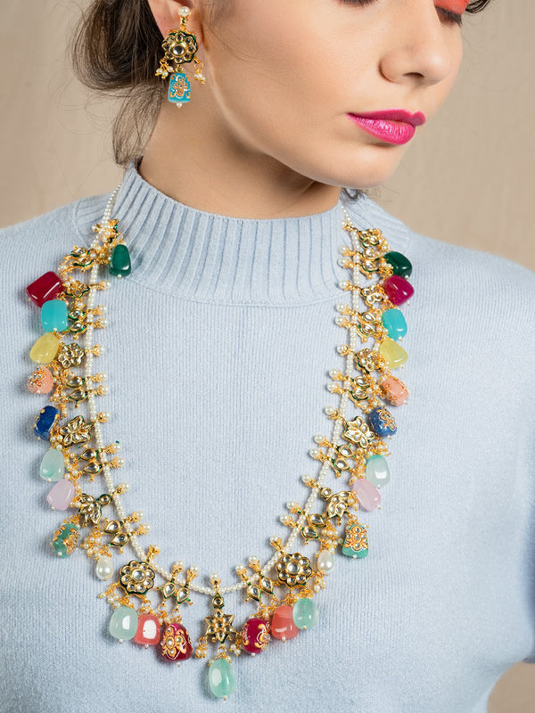 Multi-Coloured Stone Enticing Long Necklace Set