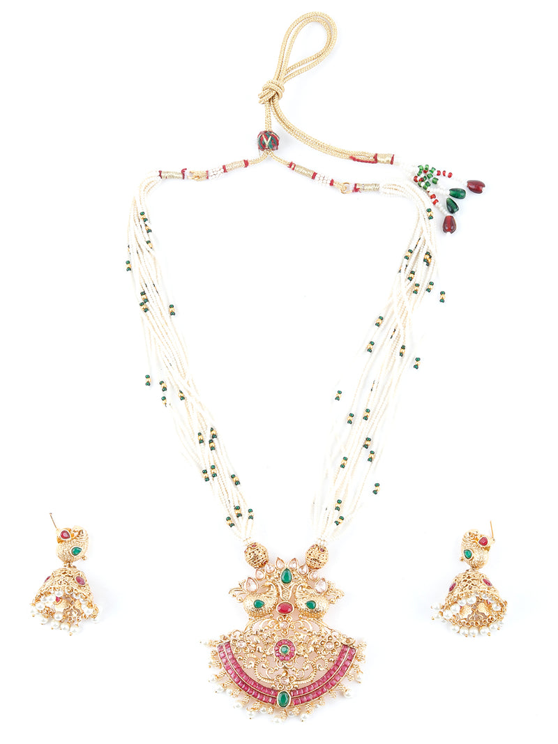 Multilayered White Temple Style Necklace Set