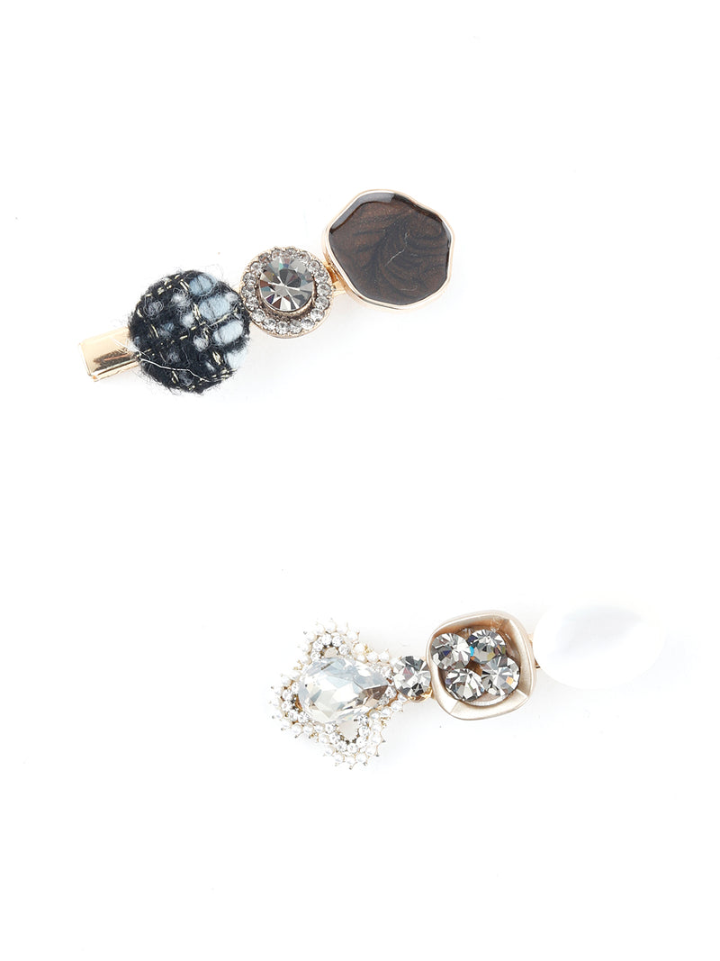 Ornamented Stones Statement Hairclips