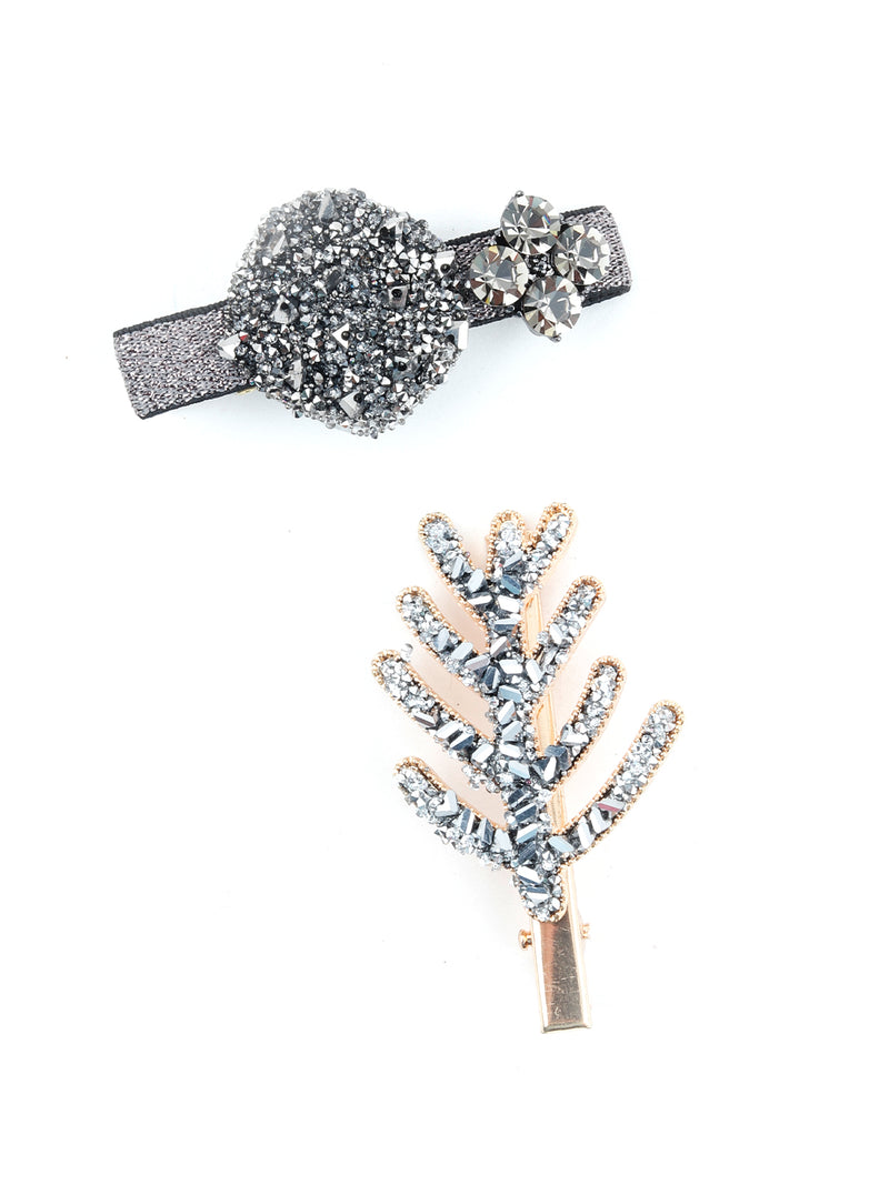 Black Winter Studded Hairclips