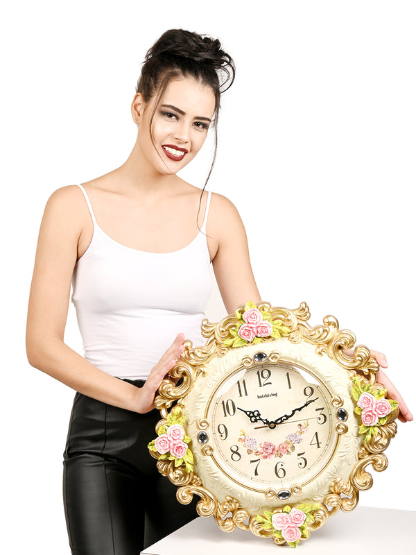 Majestic White Antique Floral Wall Clock