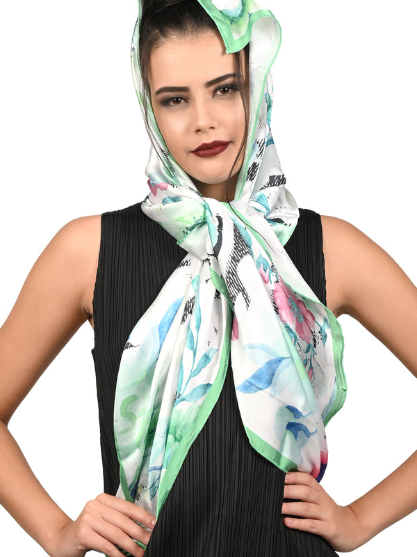 Off White Bouquet Artsy Silky Scarf