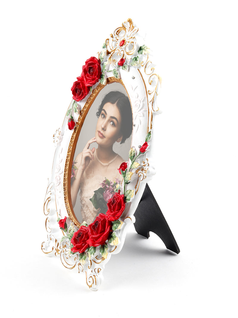 White Antique Rose Oval Photo Frame