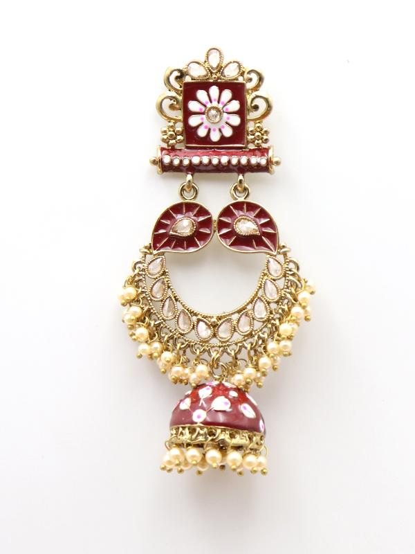 Deep Red and White Enamel Jhumka Earrings