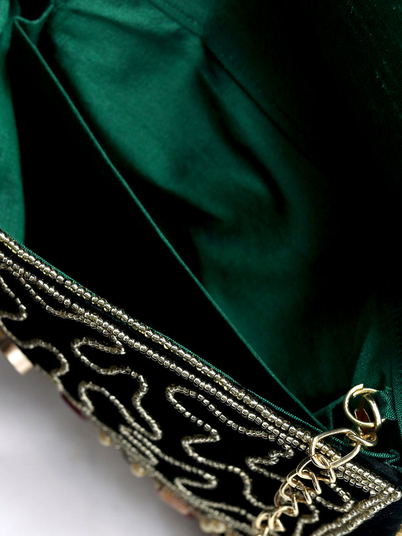 Bottle Green Stone Studded Velvet Clutch