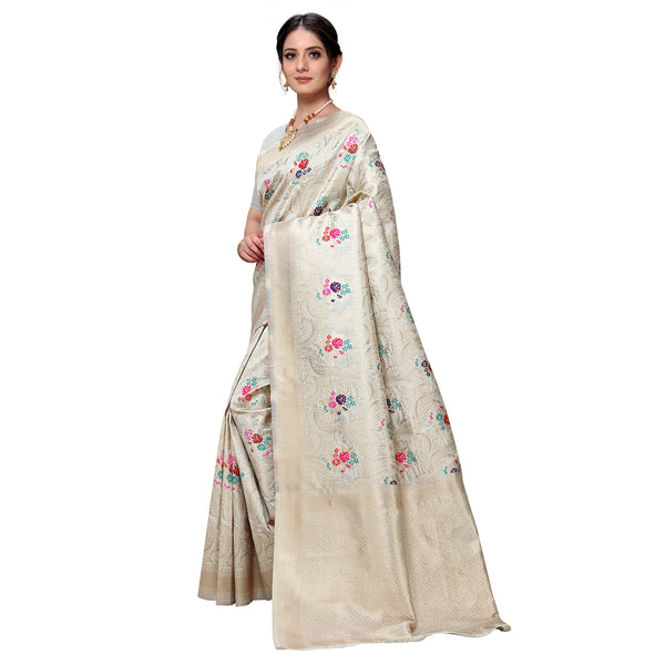 Floral Ivory Art Silk Saree
