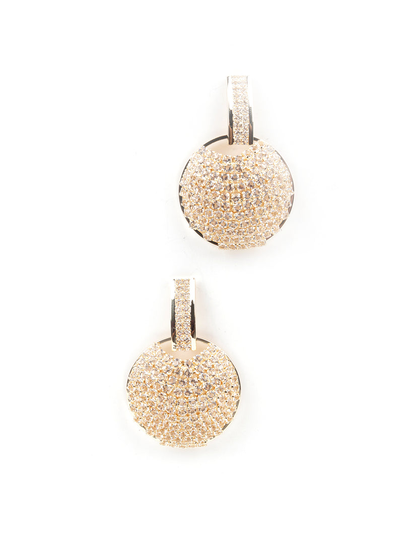 Gold Tone Round Dangle Earrings
