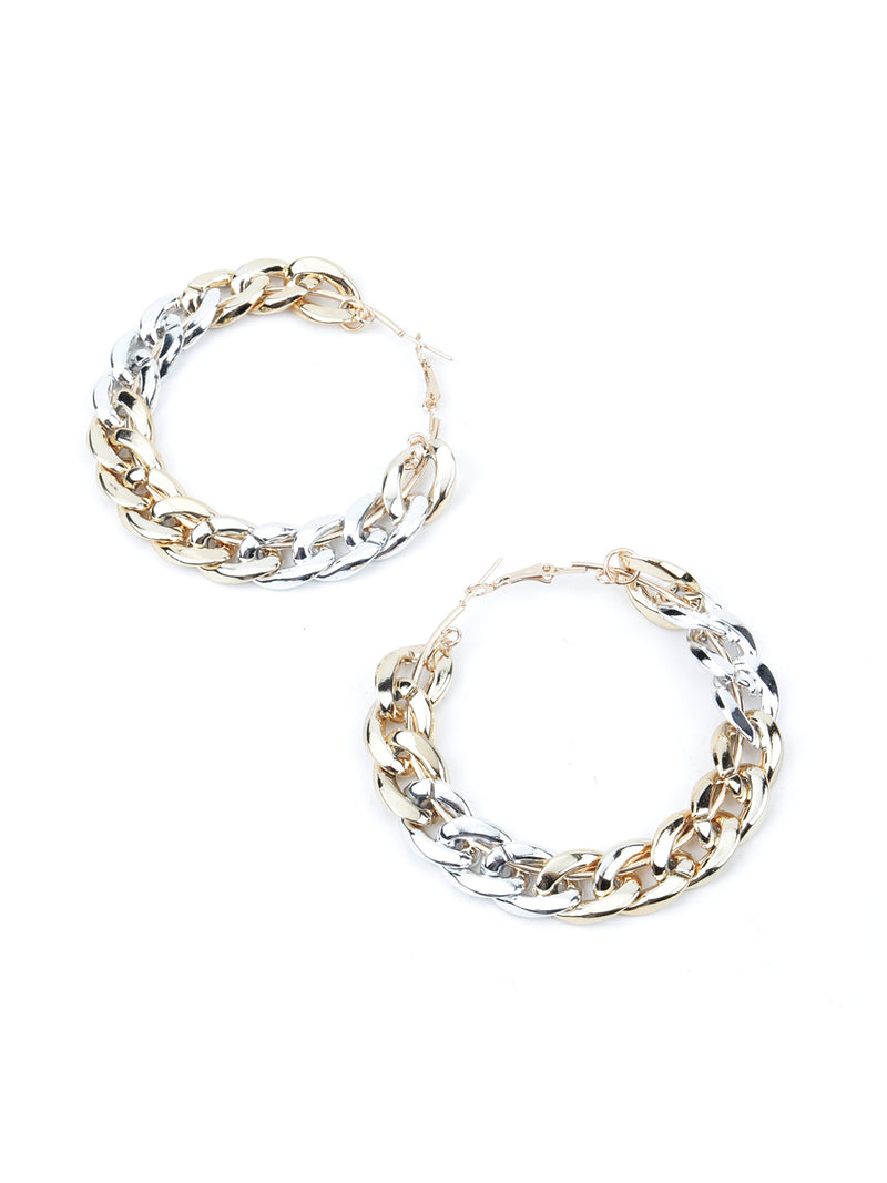Silver-Gold  Edgy Hoops