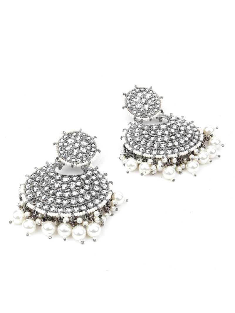 Silver Oxidised Kundan Dangle Earring