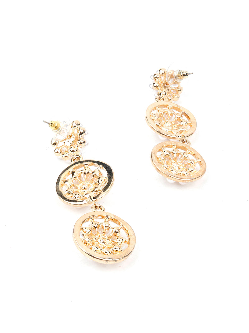 Gold Tone White Pearl Dangle Earring