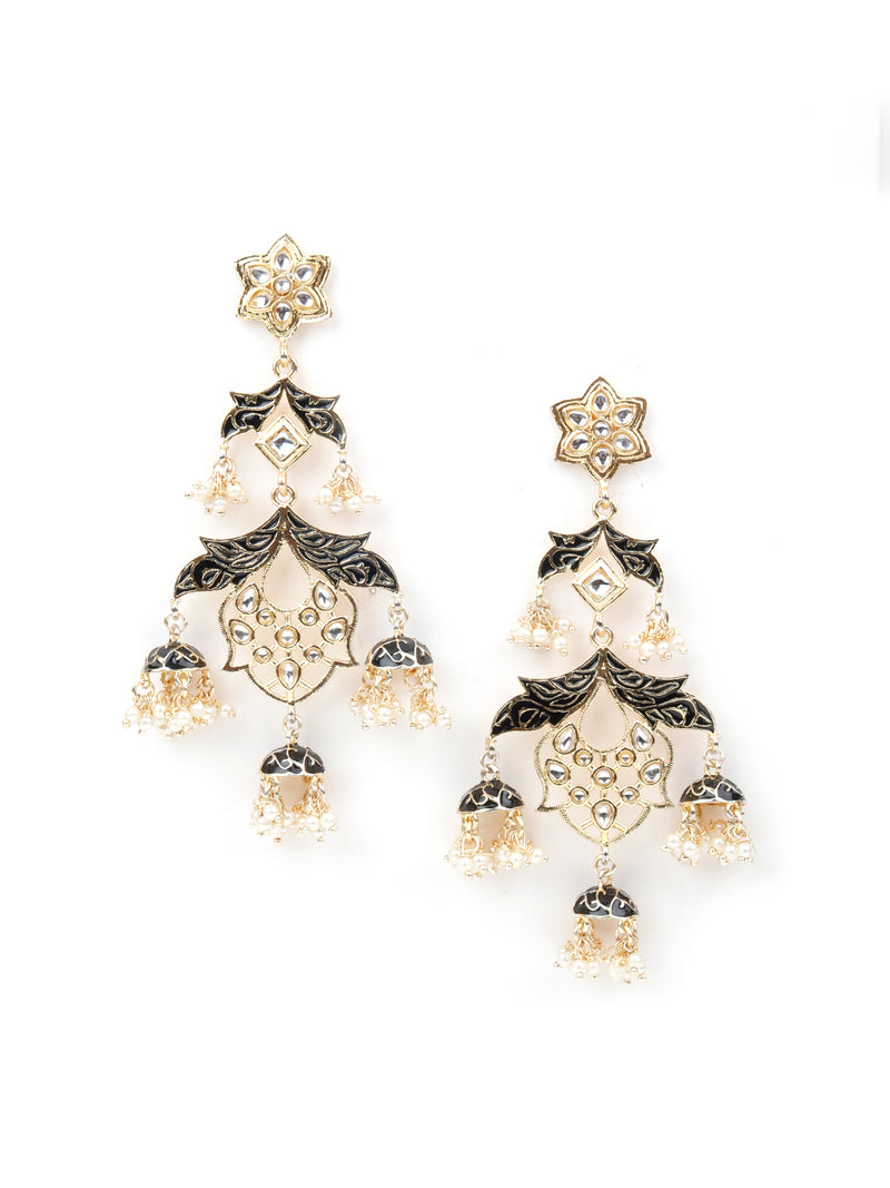 Gold Tone Black Tinted Alluring Earrings