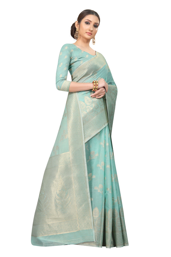 Light Blue Cotton Silk Saree
