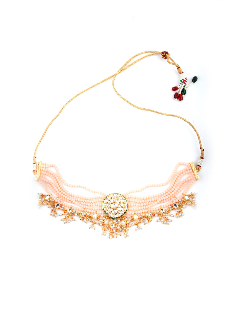 Peach Statement Choker Set