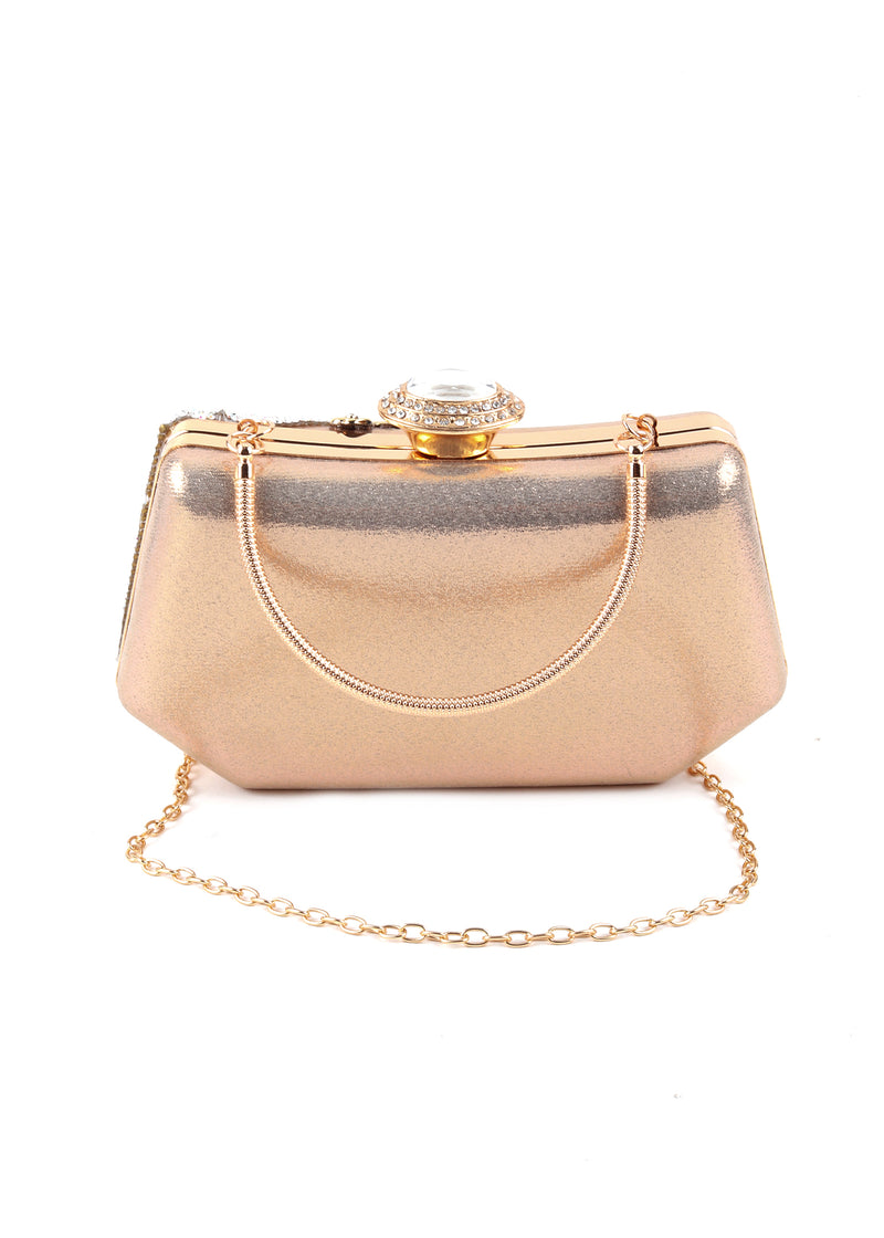 Delight Metallic Floral Clutch Handbag