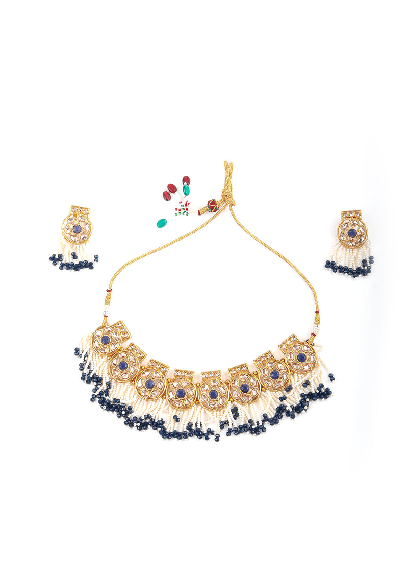 Gold Blue Traditional Choker Set