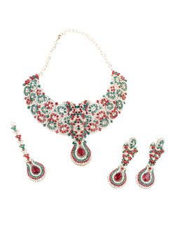 Pink And Green Crystal Studded Necklace Set