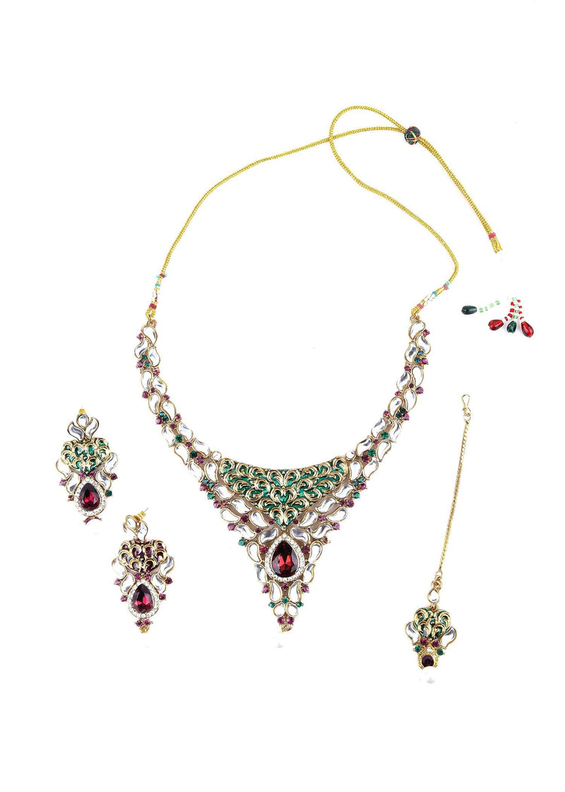White, Green And Purple Kundan Choker Necklace Set