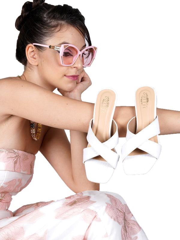 White Statement Leatherette Sandals