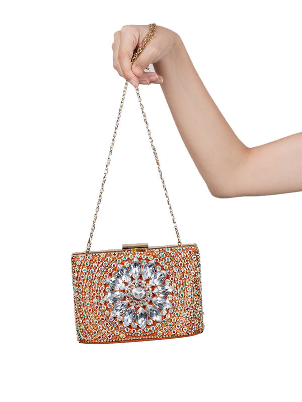 Orange Clutch Heavily Embellished in Multi-colored Stone