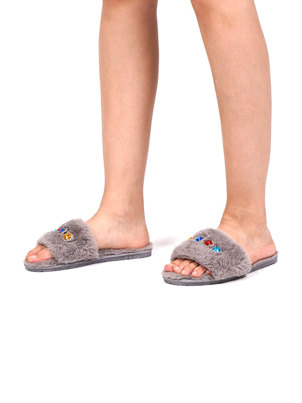 Grey Decorated Fur Slippers/Slip-on