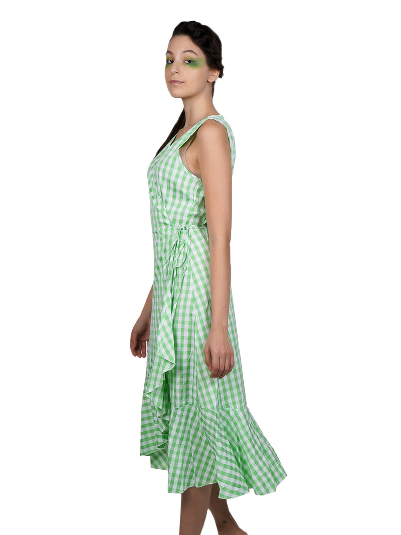 Check Design Green-White Frilled Sober Wrap-Around!