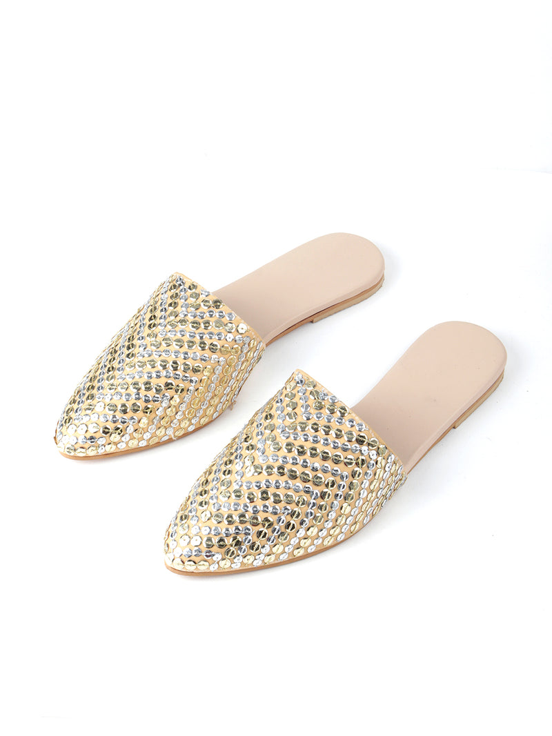 Golden Sequinned Leatherette Slip-On Mojari