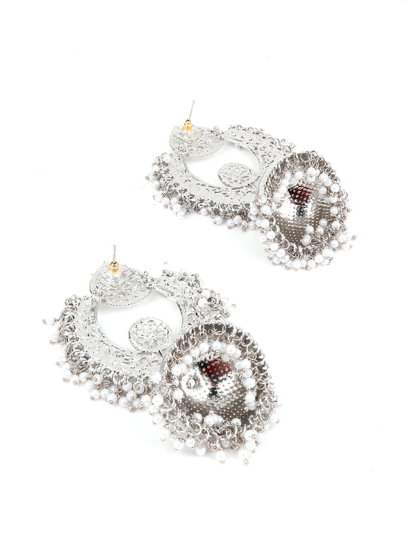 Ethnic Silver White Beaded Jhumka