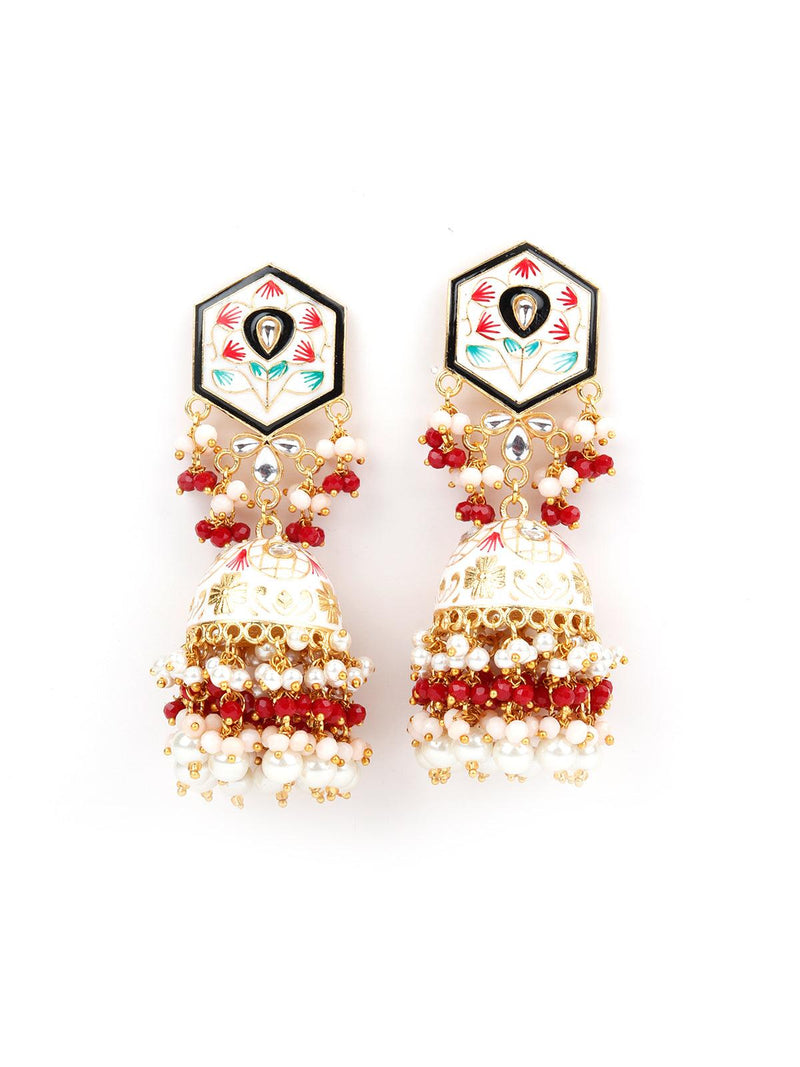 White And Red Traditional Jhumka