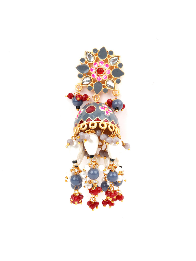 Grey And Red Rhinestone Flower Designed Jhumka