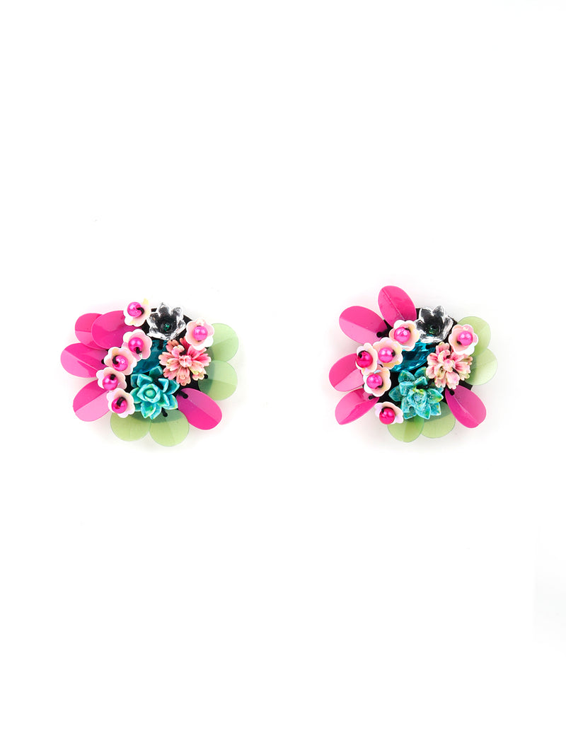Flower Designed Pink And Green Pearl Beaded  Earring