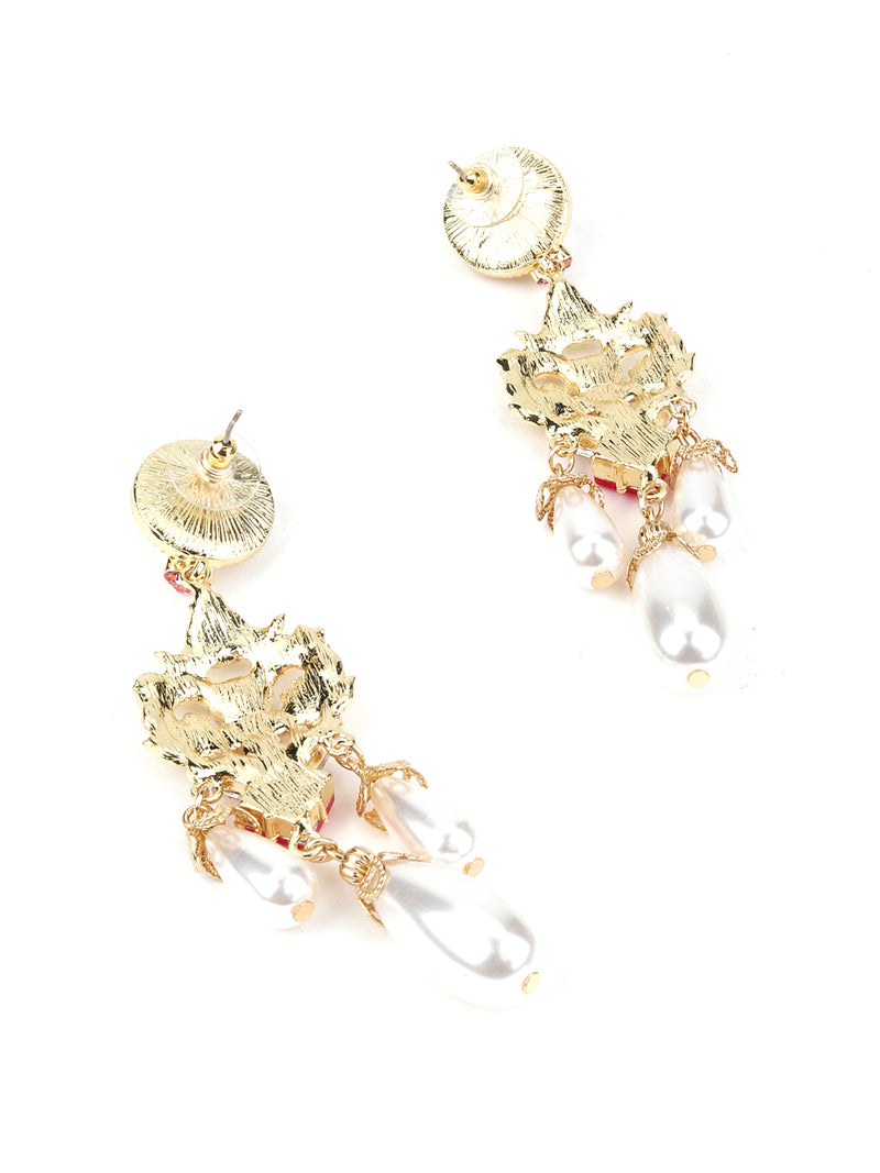 Golden Drop Earring With A Pink Rhinestone