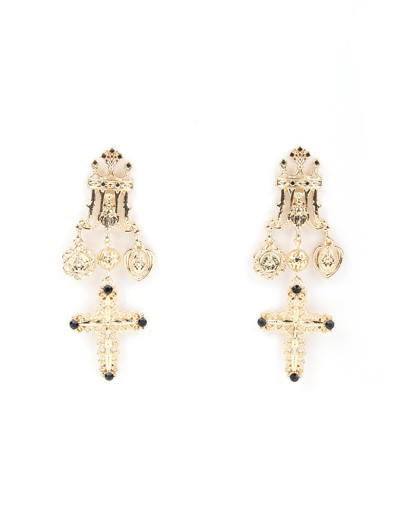 Crown Designed Earring Connected With A Cross