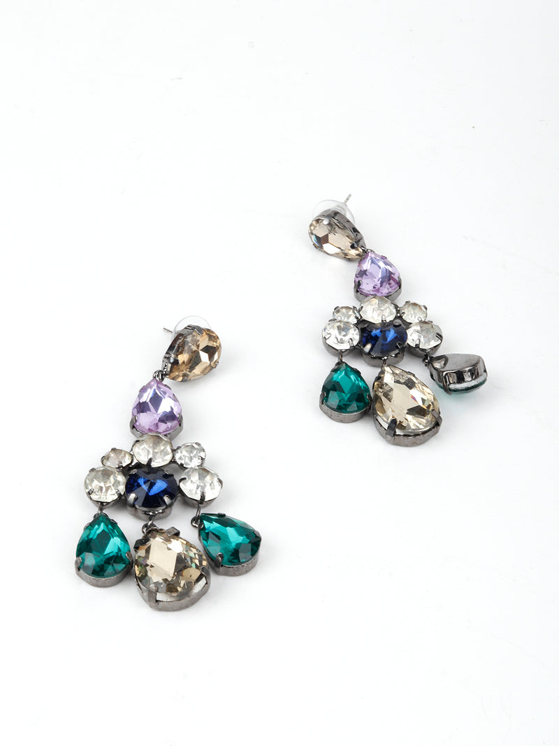 Multicolour Cut Rhinestone  Earring