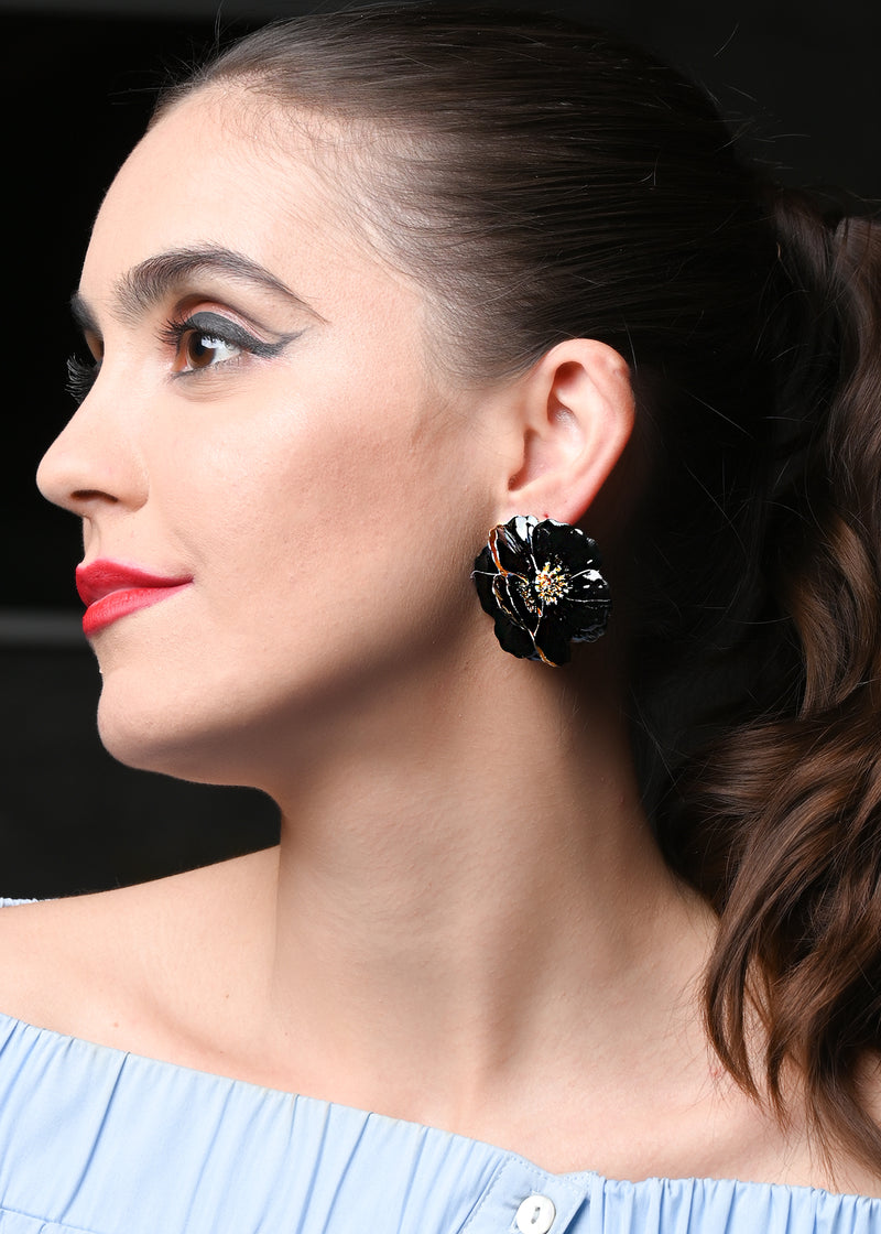 Black Double Layered Flower Shaped Earring